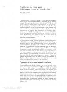 """Public view of a private space: the bedroom of the duc de Choiseul"" in Waddesdon Miscellanea, Vol I, Paris, p. 22-35"