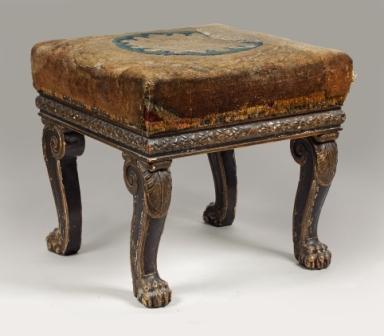 Grand tabouret en bois peint et doré de forme carrée provenant du château des Tuileries, Jacob-Desmalter