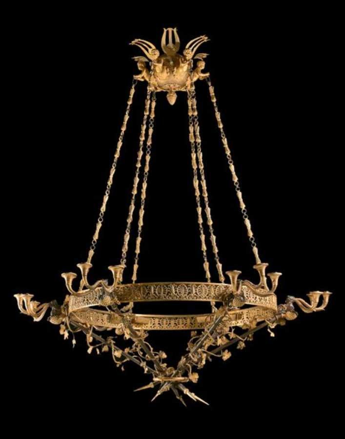 Exceptionnel lustre en bronze patiné et bronze doré